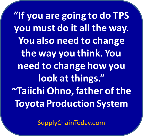 Taiicho Ohno Toyota Production System TPS supply chain quote